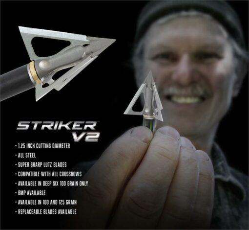 G5 Striker Broadhead V2|G5 Broadheads Striker V2 [New 2019]|G5 Striker V2 Handful of Broadheads|G5 Broadhead V2 Striker Sharp for Bow Hunting|G5 Outdoors Broadhead Information Card