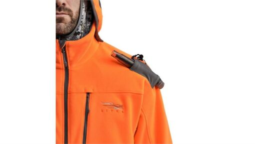 Shop - Sitka Gear - Stratus Jacket Blaze Orange|Direct Hearing Ports|Constant Connect System|Fast Access Grunt Tube Holder|Removable Hood