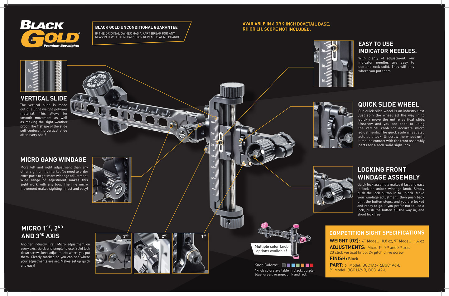 Montana Black Gold Competition Sight Spec Sheet