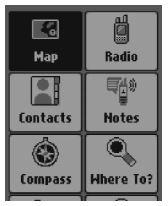 Garmin Rino 700 GPS Home Screen, Garmin Rino 700 GPS Menu, Garmin Rino 700 GPS Main Menu, Garmin GPS Menu, Rino GPS, Garmin Rino GPS